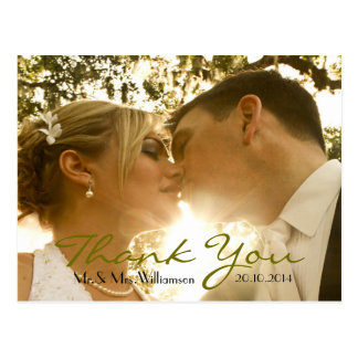 Simple Handwriting Wedding Photo Thank You Postcard