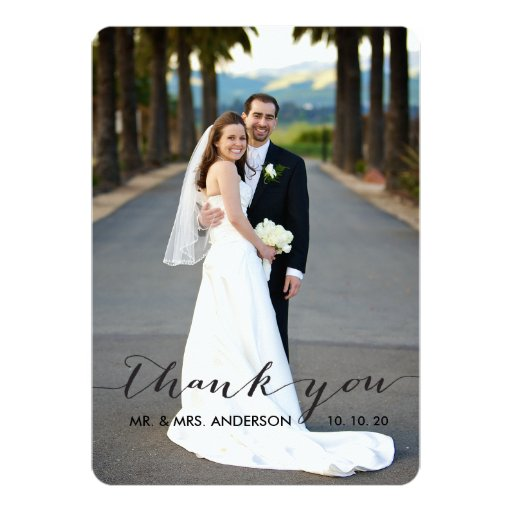 simple handwriting wedding thank you card zazzle