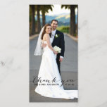 """Simple Handwriting Wedding Thank You Photo Card<br><div class=""""desc"""">Vertical Style. Simple Black Handwriting Wedding Thank You Photo Cards. Design by Elke Clarke&#169; for MonogramGallery printed by Zazzle. Send out your wedding thank you message as newly weds to your friends and family using this beautifully, simple thank you card with the words &quot;thank you&quot; written in a black handwriting...</div>"""