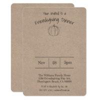 Simple Handwritten Pumpkin Friendsgiving Dinner Invitation