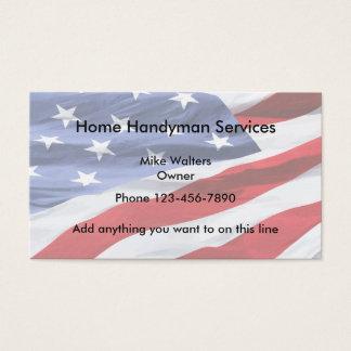 Simple Handyman American Flag Background Business Card