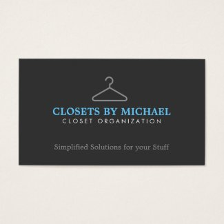 Simple Hanger Logo for Closet Organization, etc. Business Card