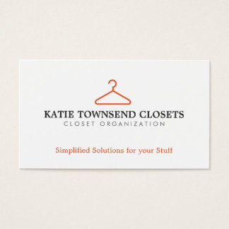 Simple Hanger Logo for Clothing Biz, Dry Cleaners Business Card