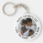 Simple Happy Father's Day Love You Daddy Photo Keychain