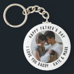 """Simple Happy Father's Day Love You Daddy Photo Keychain<br><div class=""""desc"""">Simple Custom Text Happy Father's Day Love You Daddy Photo keychain</div>"""