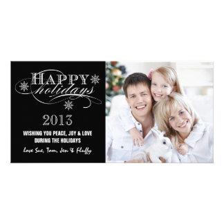 SIMPLE HAPPY HOLIDAYS 2013 BLACK PHOTO CARDS
