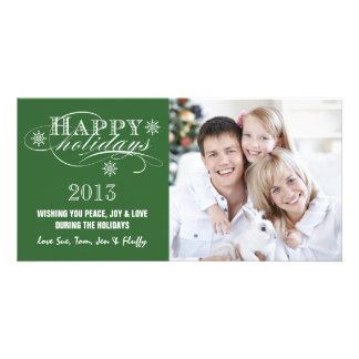 SIMPLE HAPPY HOLIDAYS 2013 GREEN CUSTOMIZED PHOTO CARD