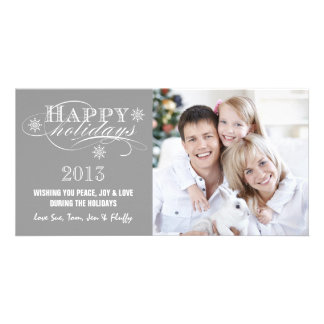SIMPLE HAPPY HOLIDAYS 2013 GREY PHOTO CARD TEMPLATE