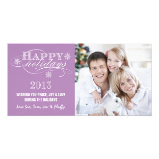 SIMPLE HAPPY HOLIDAYS 2013 MAUVE PERSONALIZED PHOTO CARD