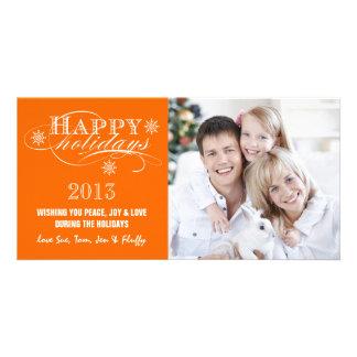 SIMPLE HAPPY HOLIDAYS 2013 ORANGE PHOTO CARD