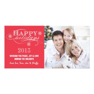 SIMPLE HAPPY HOLIDAYS 2013 RED CUSTOMIZED PHOTO CARD