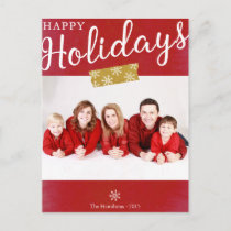 Simple Happy Holidays Christmas Photo Postcard