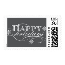 SIMPLE HAPPY HOLIDAYS GREY POSTAGE