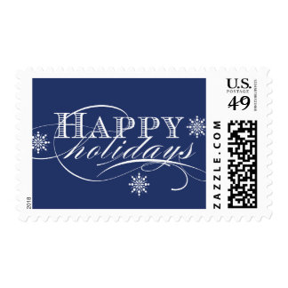 SIMPLE HAPPY HOLIDAYS NAVY BLUE POSTAGE STAMP
