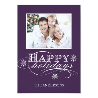 SIMPLE HAPPY HOLIDAYS PHOTO CARD PURPLE