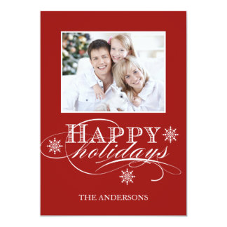 SIMPLE HAPPY HOLIDAYS PHOTO CARD RED