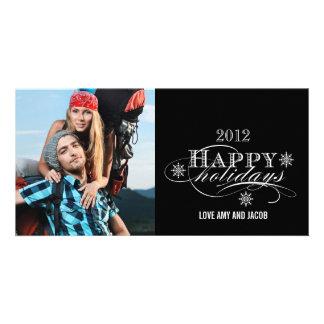 SIMPLE HAPPY HOLIDAYS PHOTO CARDS BLACK