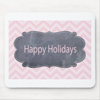 Simple Happy Holidays Pink Greeting Cards Mouse Pad