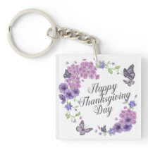 Simple Happy Thanksgiving Butterflies   Keychain