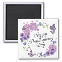 Simple Happy Thanksgiving Butterflies | Magnet