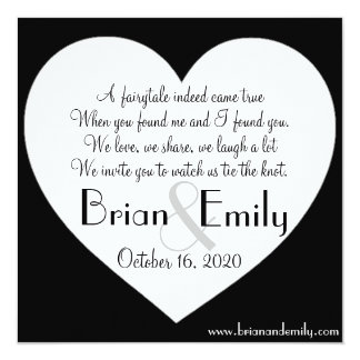 Simple heart black white square wedding invites
