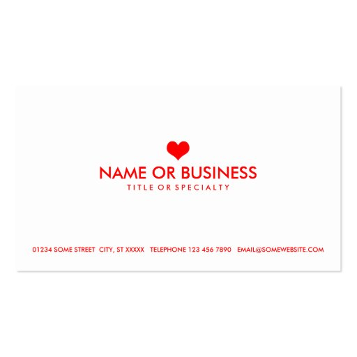 simple heart business card templates