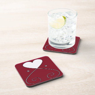 Simple Heart Coaster Red