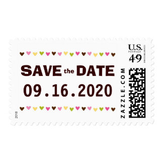 Simple heart confetti save the date stamps