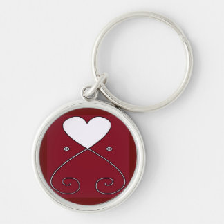 Simple Heart Keychain Two Toned Red