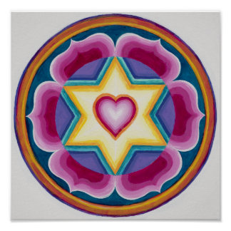 Simple Heart mandala in a 6 pointed star Poster