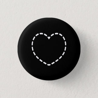 Simple Heart on Black Button