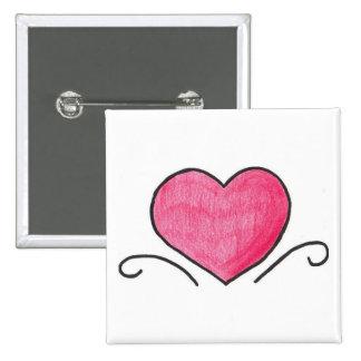 Simple heart pinback button