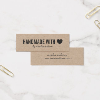 Simple Heart Rustic Handmade with Love Kraft Mini Business Card