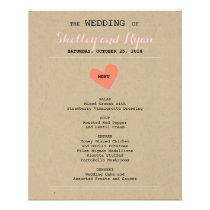 Simple Heart Wedding Menu Card