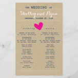 """Simple Heart Wedding Program<br><div class=""""desc"""">Wedding program to match Simple Heart Wedding Suite with hot pink and navy accents</div>"""