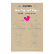 Simple Heart Wedding Program