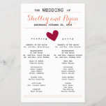 """Simple Heart Wedding Program<br><div class=""""desc"""">Wedding program to match Simple Heart Wedding Suite with burgundy hearts and coral accents.</div>"""