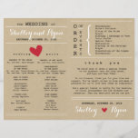 """Simple Heart Wedding Program FAN<br><div class=""""desc"""">Simple Heart wedding program to match Wedding Suite with red accents. This program is designed to be made into your own DIY Hand Fan. Simply fold in half and add your own wood handles.</div>"""