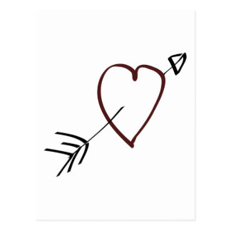 Simple Heart with Arrow Going Through It Postcard