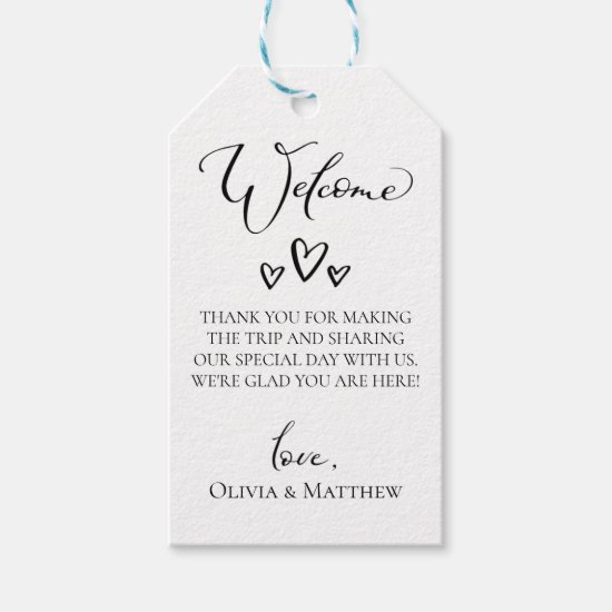 Simple Hearts Wedding Welcome Bag Gift Tags