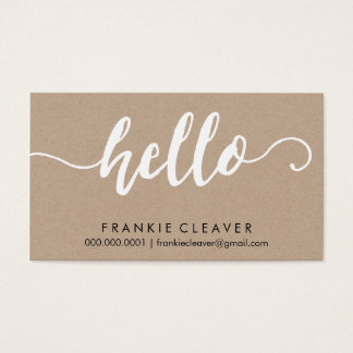 SIMPLE HELLO SCRIPT hand drawn type kraft white Business Card