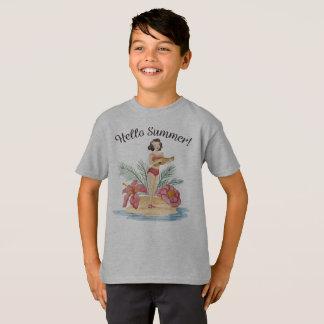 Simple Hello Summer Tropical Beach Tagless Shirt