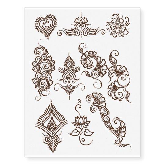 Where To Get Temporary Henna Tattoos Near Me: Simple Henna Design Temporary Tattoo Sheet- Brown