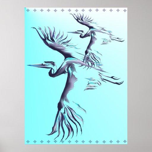 Simple Heron Poster