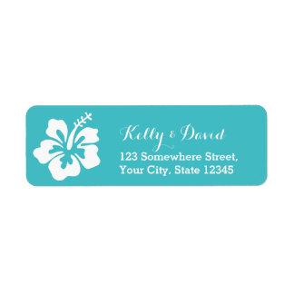 Simple Hibiscus Turquoise Wedding Return Address Label