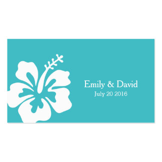 Simple Hibiscus Turquoise Wedding Website Insert Business Card