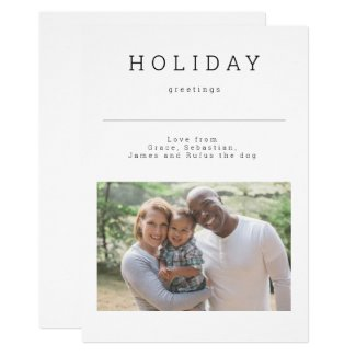 Simple Holiday Greetings Photo Personalized Card