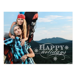 SIMPLE HOLIDAY PHOTO POSTCARD BLUE