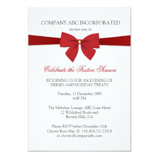 Simple Holiday Red Ribbon Corporate Party Card at Zazzle