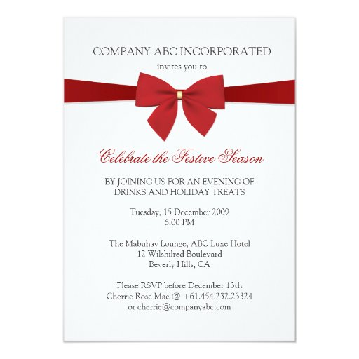 Simple Holiday Red Ribbon Corporate Party Card